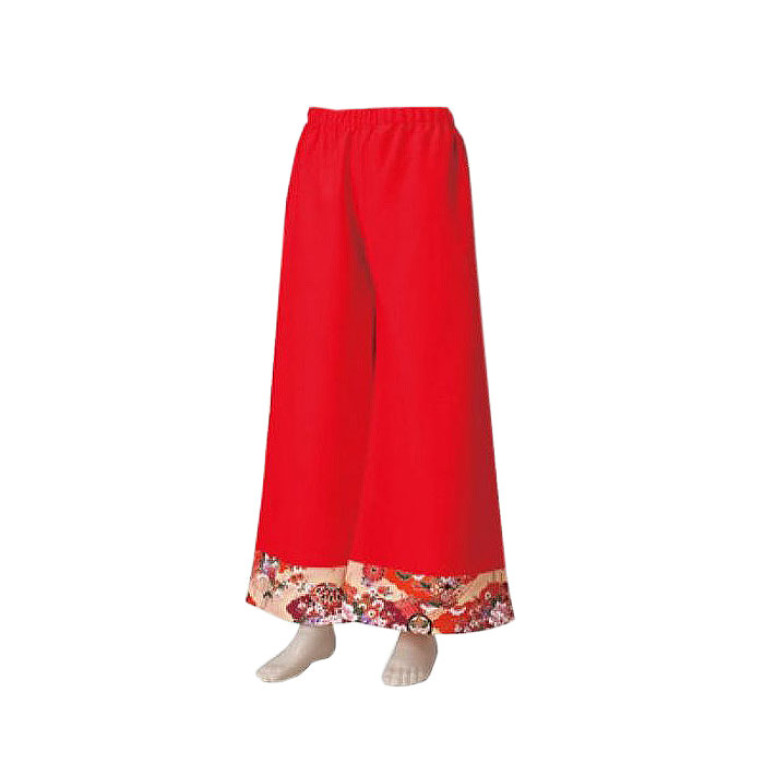 よさこい衣装 新入荷 流行 裾が和柄のパンツです よさこい 衣裳 和柄パンツ 赤 祭り 裾ベージュ和柄 お取り寄せ商品 k敏20645 コスチューム 開店記念セール
