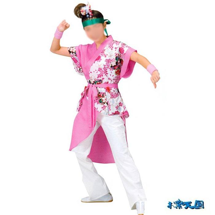 よさこい コスチューム (k寄20036) レディース 上衣 鳴子入れ付きベルト セット よさこい衣装 祭り 衣装 衣裳 【お取り寄せ商品】