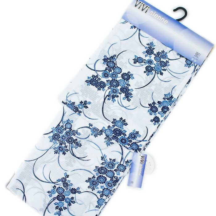 婦人 ゆかた フリーサイズ 綿 白地 藍 束ね菊 紅梅 総柄 レディース 婦人 浴衣 単品 大人 ViVi 【 帯 下駄 オプション付 】