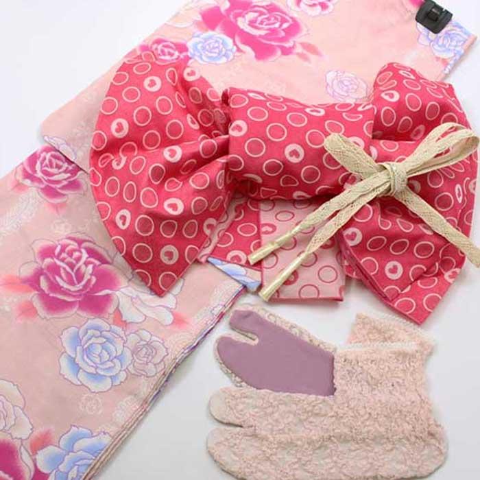婦人 ゆかたセットピンク地に薔薇とレース柄(浴衣 兵児帯 帯締め レース足袋 4点 セット)