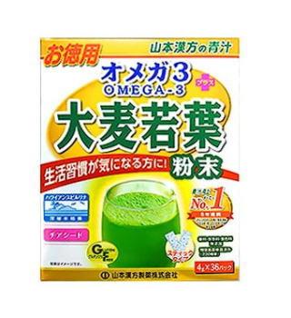 山本漢方 青汁 オメガ3+大麦若葉粉末(お徳用)(4g×36包) 6個セット【送料無料】