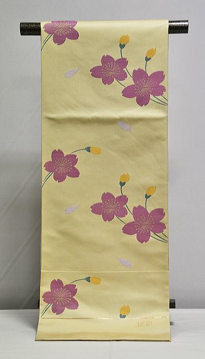 お洒落向き 袋帯 -クリーム/桜- [ 1112-969 ]