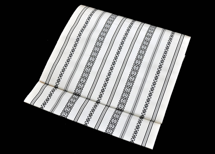 正絹 本場筑前博多織 八寸名古屋帯 -献上柄/白黒- [ 0509-157 ]