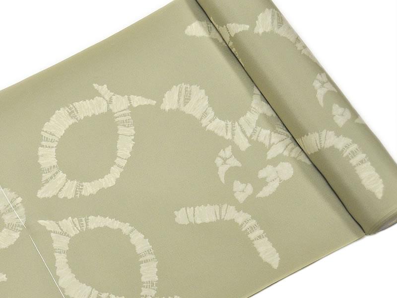 男物 正絹 絞り風友禅長襦袢 -隈取/黄緑系- [ 1802-2650 ] 【仕立て・フルオーダー・誂え・ながじゅばん・きぬ・シルク・男性・メンズ・紳士・なつ・無地・シンプル・くまどり・歌舞伎・しぼりふう・染め・お洒落・おしゃれ】