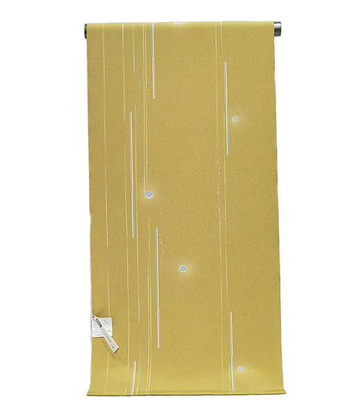 女物 東レシルック 小紋着尺 -小花/芥子色- [ 1509-1895 ] 【着物・きもの・洗える・フルオーダー・仕立て・普段着・街着・おしゃれ着・ポリエステル・合繊・化繊・女性・レディース・単衣・袷・はな・花・ちりめん・絞り風・白・ピンク・緑・紫】