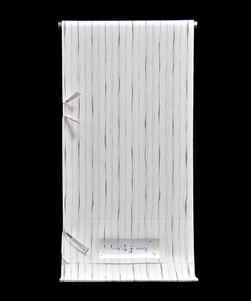 女物 東レシルック 奏美 小紋着尺 大久保 信子流きもの -よろけ縞/白系- [ 1611-2170 ] 【きもの・洗える着物・フルオーダー・仕立て・お茶席・茶道・街着・ポリエステル・合繊・化繊・女性・レディース・おおくぼのぶこ・そうび・ストライプ・黒・茶】