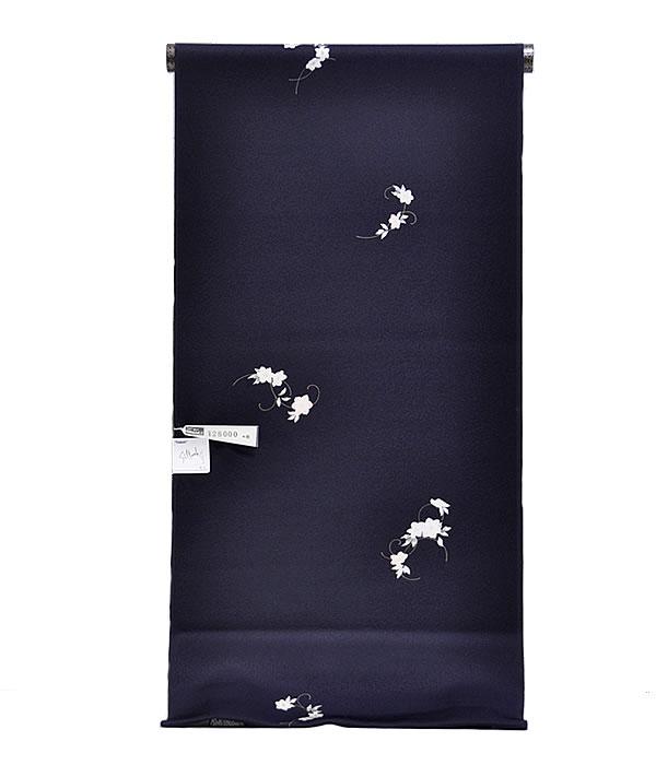 女物 東レシルック 小紋着尺 -ちょこっと鉄線/濃紺地- [ 1612-2207 ] 【着物・きもの・洗える・地模様・フルオーダー・仕立て・お茶席・ポリエステル・合繊・化繊・女性・レディース・てっせん・花・白・藤・紫・茶・紅梅・緑・単衣・袷・シンプル】