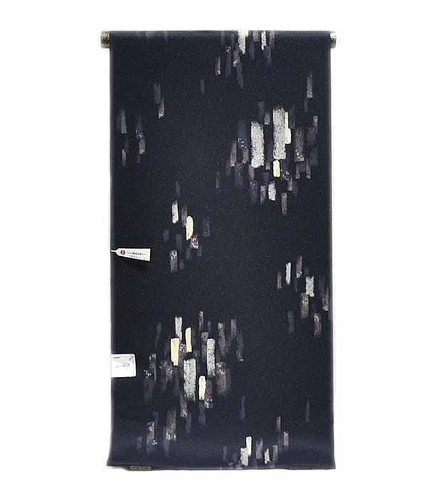 女物 東レ シルック 奏美 小紋 着尺 -油絵タッチ/黒地系- [ 1712-2577 ] 着物 きもの 洗える フルオーダー 未仕立て 普段着 街着 おしゃれ着 ポリエステル 合繊 化繊 女性 レディース 単衣 袷 白 黄 水色 緑 紫 鼠 そうび