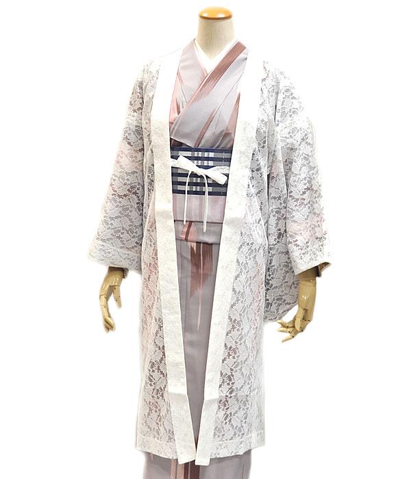 女物 レース単衣 羽織 -白- [ 1901-2930 ] 仕立上がり 既製品 はおり 春 ひとえ 女性 レディース 花見 街着 お洒落着 ホワイト ポリエステル 紐付き お洒落 おしゃれ 日本製 ギフト プレゼント 贈り物 誕生日