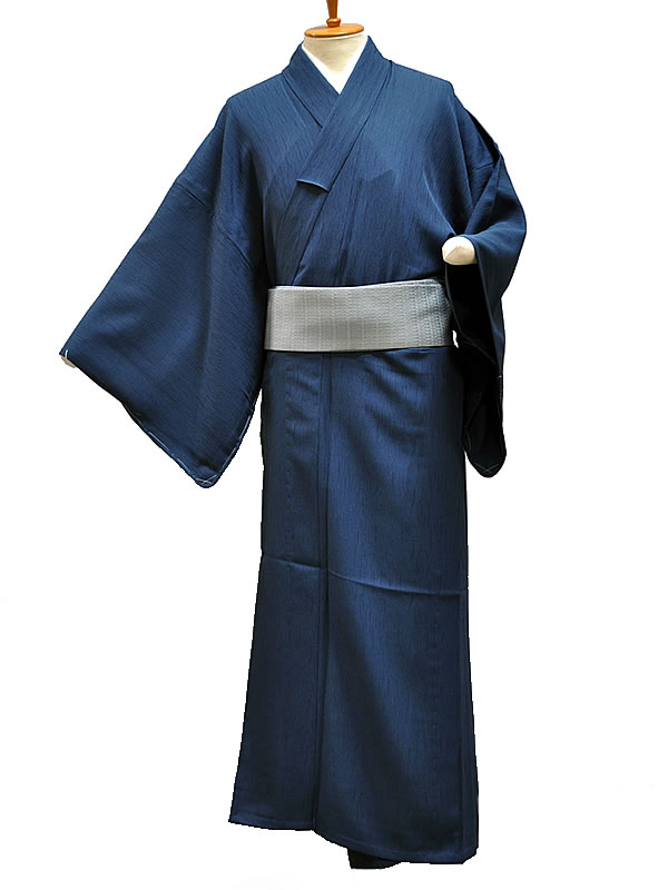 男物 ポリエステル プレタ 無地単衣着物 -藍色- [ 1506-1854 ] 【着物・きもの・夏・洗える・男性・メンズ・紳士・シンプル・無地・仕立て上り・既製品・青】