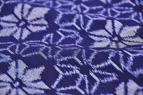 手織り 久留米かすり 木綿着尺 -麻の葉/藍色系- [ 1203-1074 ] 【ふるフルオーダー・仕立て・誂え・着物・きもの・九州・めん・街着・カジュアル・普段着・女物・女性・レディース・日本製・絣・あさのは・和柄】