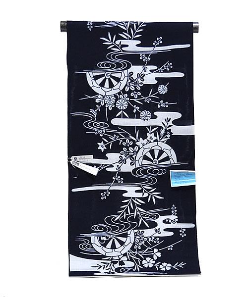 女物 綿絽 ゆかた 反物 -源氏車・流水・単彩/濃紺地- [ 0902-842b ]  フルオーダー 仕立て 誂え 夏 なつ 浴衣 たんもの 花火 祭り げんじくるま りゅうすい 白 ホワイト ネイビー 日本製 和柄 古典 女性 レディース