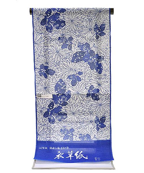 女物  長板本染中形  ゆかた 反物  -綿紅梅豆引き染/菊- [ 1302-1319 ]  フルオーダー 仕立て 夏 花火大会 お祭り 浴衣 伝統工芸 着物 きもの 花柄 きく キク 麻 あさ リネン ながいた 藍 女性 レディース めんこうばい ネイビー