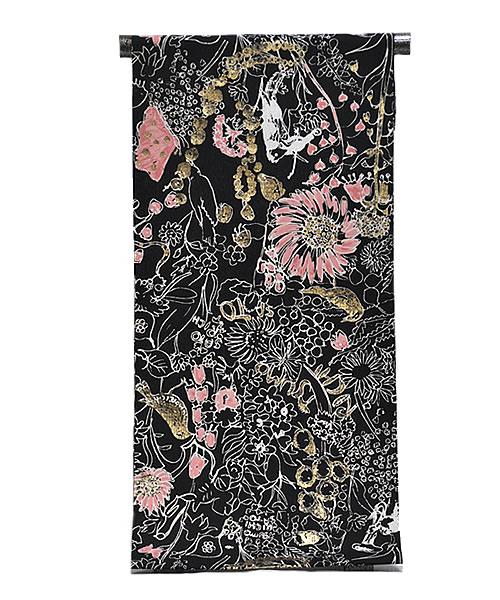 女物 tsumori chisato ポリエステル ゆかた 反物  -花鳥/黒系地- [ 1605-2029 ] 浴衣 仕立て フルオーダー 誂え 女性 レディース ツモリチサト つもりちさと 津森千里 たんもの 花火 お祭り 夏 なつ 日本製 とり はな 金 ブラック ゴールド