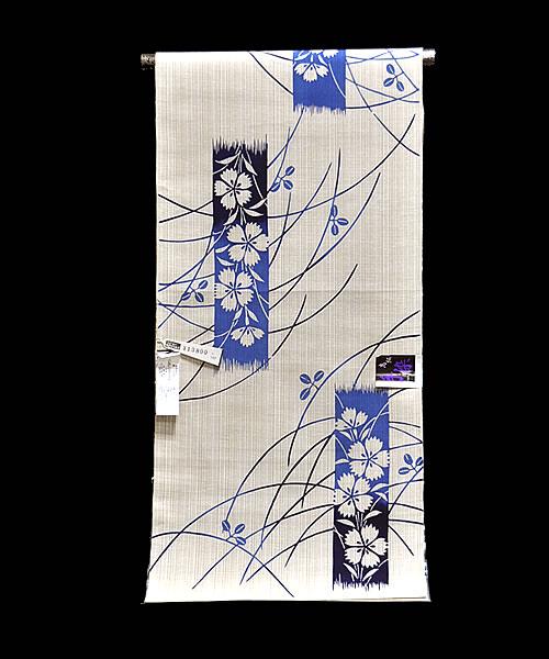 女物ゆかた -萩と撫子- [ 1607-2098 ] 【フルオーダー・仕立て・浴衣・反物・女性・レディース・夏・花火・祭り・綿・めん・はぎ・なでしこ・花・短冊・藍・注染・古典・和柄】