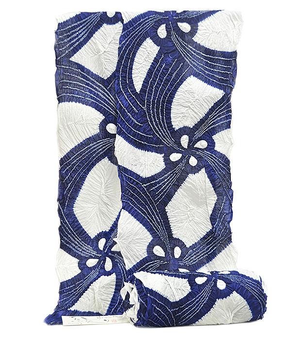 女物 鳴海有松 絞り ゆかた 反物 -風車/白・紺色系- [ 2004-3238 ] 浴衣 フルオーダー 誂え 仕立て 一目 たんもの 小帽子 しぼり 夏 花火大会 お祭り 女性 レディース 綿 めん 伝統工芸 はな なるみありまつ ネイビー