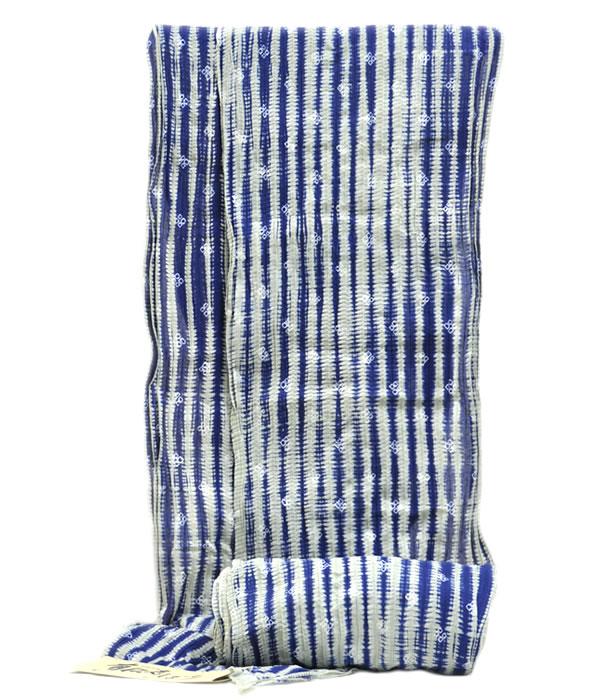 男物 鳴海有松 絞り浴衣 -四ツ目菱/藍・鼠系色- [ 1803-2653 ] 【フルオーダー・仕立て・夏・花火大会・お祭り・ゆかた・なるみありまつ・伝統工芸・男性・メンズ・女性・女物・綿・めん・麻・あさ・一目・柳しぼり・巾広・日本製】