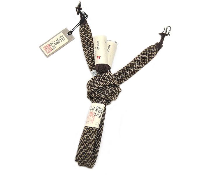 お洒落向き 男物 夏羽織紐 平組 -変わりレース/茶系- [ 1707-2427 ]【楽ギフ_のし】【男性・メンズ・はおり・着付け小物・絹・きぬ・京紫野・手ぐみ紐・男専科・日本製・大原・お洒落・おしゃれ・直付け・S管・ギフト・贈り物・プレゼント・父の日・敬老の日】