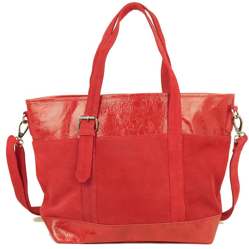 スウェード×山羊革 ワーキングバッグ(赤)