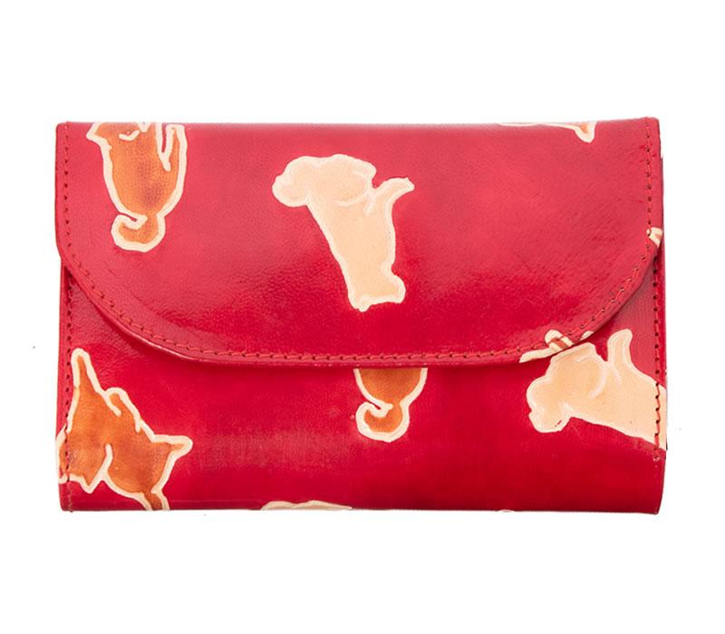 フェアトレード 雑貨 インド 山羊革 犬おさんぽ柄 国内在庫 フラップ付き二つ折り財布 ヤギ革 新生活 赤
