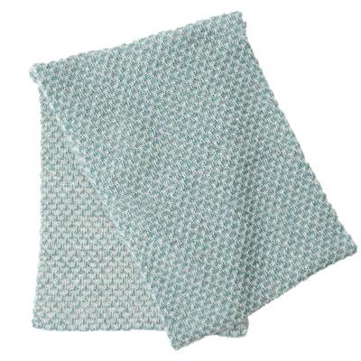 フェアトレード アルパカニット 限定価格セール アルパカ100% 水色×白 新作 人気 引き上げ柄のマフラー