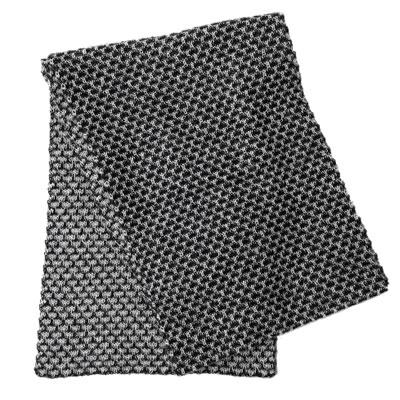 アルパカ100% 引き上げ柄のマフラー(黒×白)