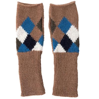 フェアトレード アルパカニット アルパカ100% 日本産 指なし手袋 ランバスキャメル 人気