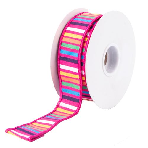 コミュニティトレード 雑貨 インド 超美品再入荷品質至上 MING ワイヤーリボン ボーダーミックス 幅3.6cm 高級 ピンク