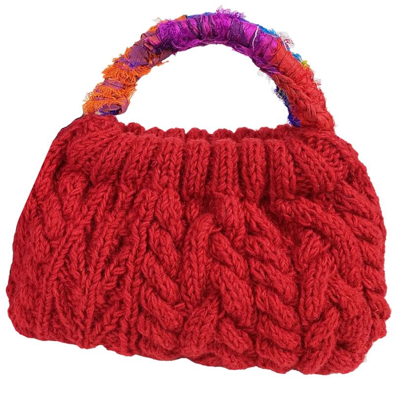 コミュニティトレード 人気ショップが最安値挑戦 雑貨 ネパール 40%OFFの激安セール 手編みのハンドバッグ 赤 MING