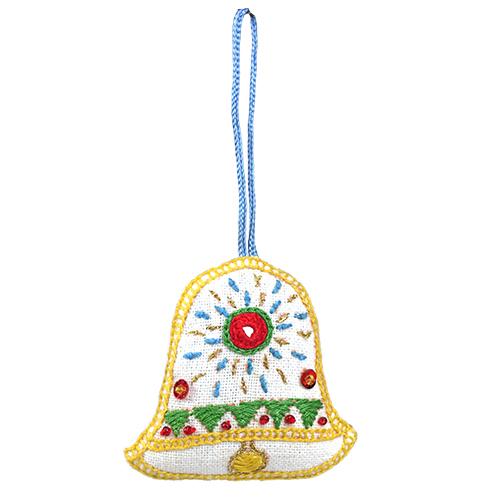 フェアトレード 雑貨 内祝い インド ミラー刺繍 メイルオーダー 白 オーナメント ベル