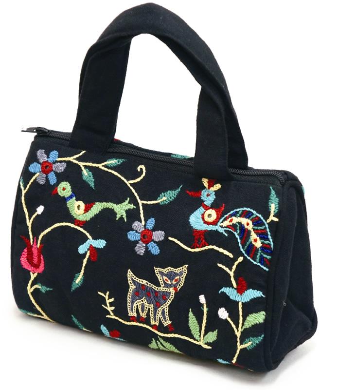 フェアトレード 雑貨 クリアランスsale!期間限定! インド 買い物 コスメポーチ 象柄 ミラー刺繍のちび刺繍バッグ 黒