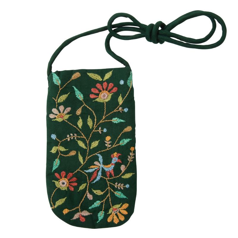 フェアトレード 雑貨 購買 インド 緑 ミラー刺繍 メガネケース 定価