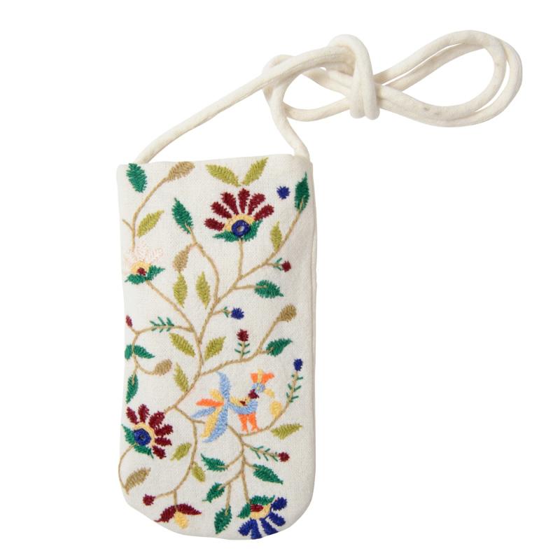 プレゼント フェアトレード 舗 雑貨 インド メガネケース ミラー刺繍 白
