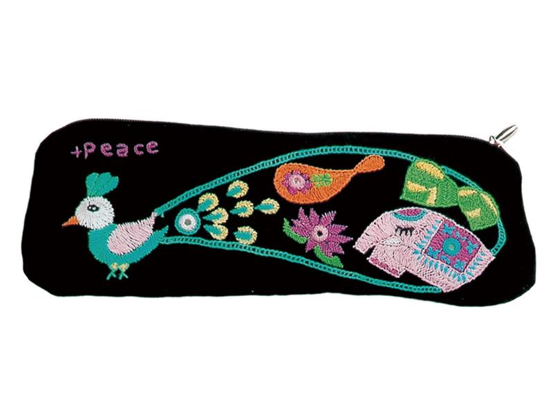 フェアトレード 雑貨 インド 黒 完全送料無料 ミラー刺繍 ◆セール特価品◆ ペンケース