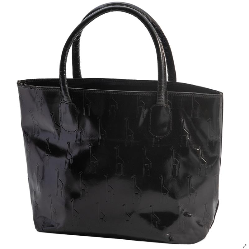 フェアトレード 激安通販ショッピング 雑貨 インド 山羊革 キリン柄 トートバッグ 今ダケ送料無料 黒