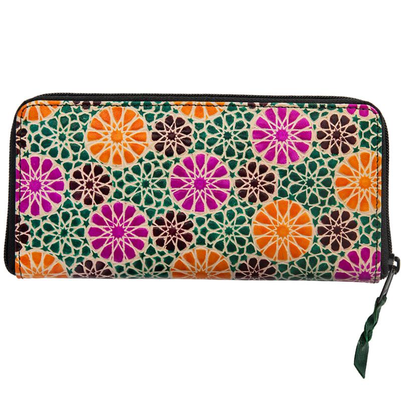 フェアトレード 雑貨 メーカー公式 最新 インド 山羊革 タンポポ柄 長財布 薄緑