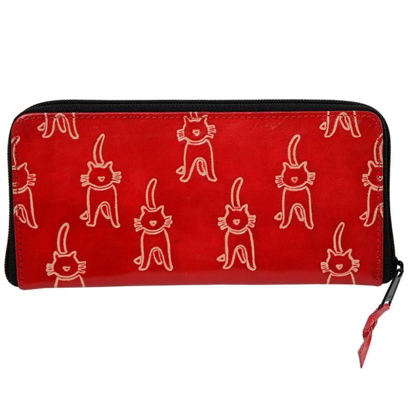 フェアトレード 雑貨 インド 山羊革 長財布 ネコ柄 赤 ご予約品 WEB限定