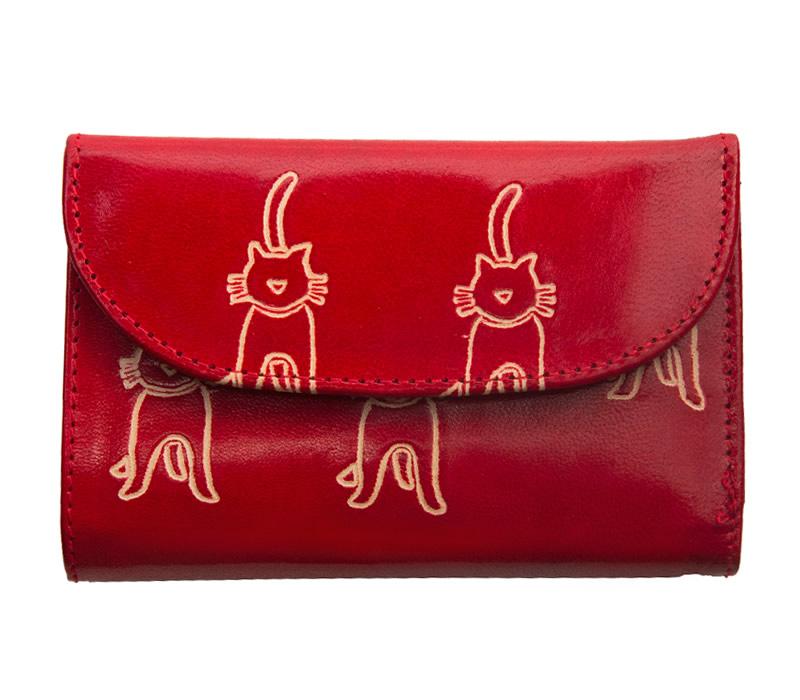●日本正規品● フェアトレード 雑貨 インド 奉呈 山羊革 ネコ柄 フラップ付二折財布 赤