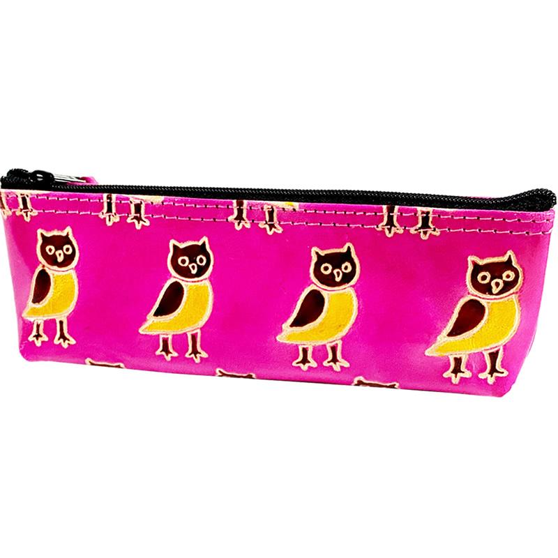 フェアトレード 売店 まとめ買い特価 雑貨 インド 山羊革 ペンケース ピンク フクロウ柄