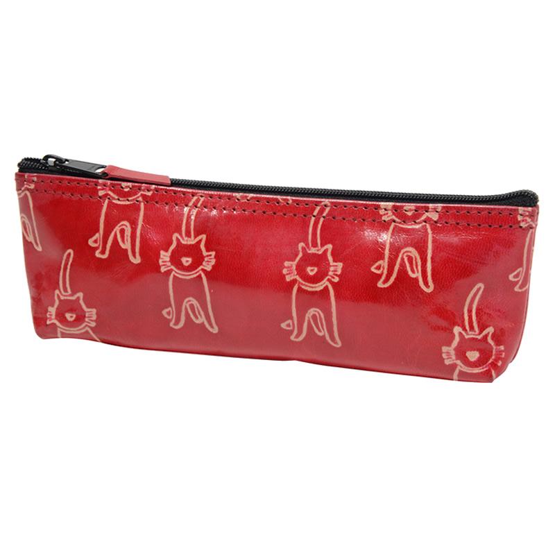 直営限定アウトレット フェアトレード 情熱セール 雑貨 インド 山羊革 ペンケース ネコ柄 赤