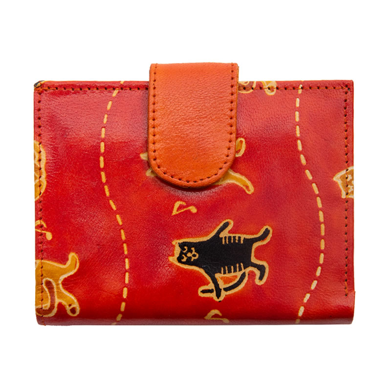 フェアトレード 雑貨 インド 山羊革 二つ折財布ワイド コーラス猫柄 セール特価 オレンジ 激安