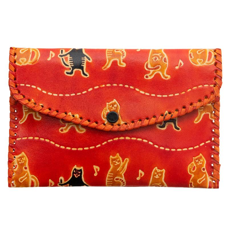 フェアトレード 雑貨 トレンド インド 山羊革 財布パース コーラス猫柄 テレビで話題 オレンジ