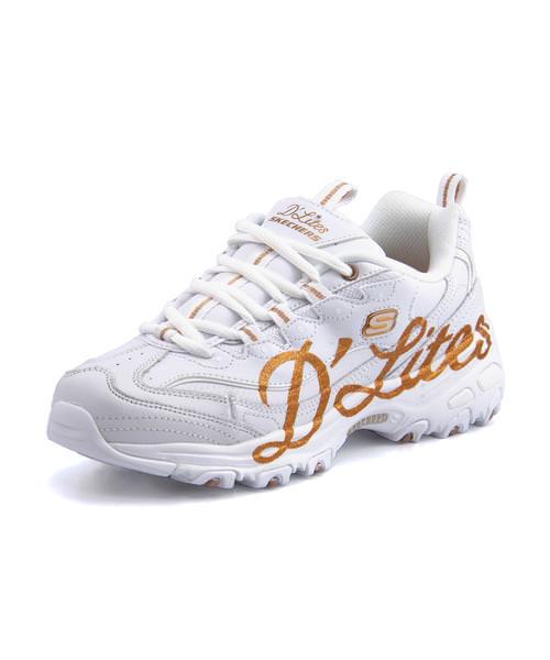 SKECHERS スケッチャーズ DLITES - GLITZY CITY レディーススニーカー(ディライトグリッツィーシティ) 13165 WTRG ホワイト/ローズゴールド