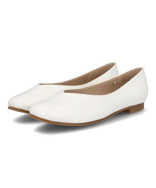 LSMR レスモア 2020A W新作送料無料 レディース スクエアフラットシューズ 421017 新作 人気 ホワイト 靴 ローヒール ギフト パンプス ブランド シューズ