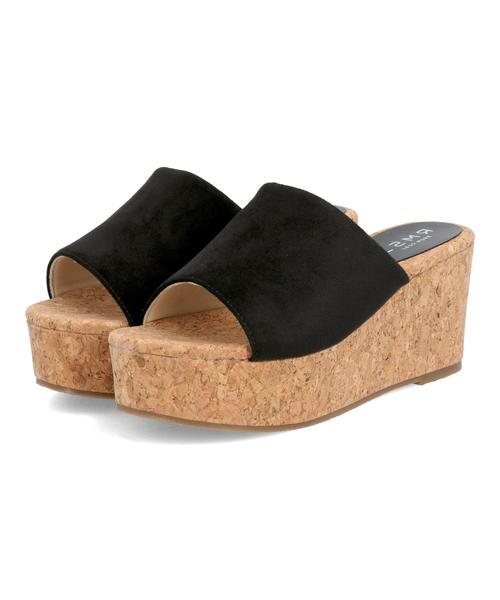 メーカー在庫限り品 日本未発売 LSMR レスモア レディース コルクスエードミュール 421206 ブラック シューズ 靴 サンダル ウェッジサンダル ハイヒール ブランド ハイヒールサンダル 厚底 厚底サンダル ギフト ウェッジ