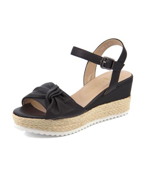 ing PLUS(イングプラス) レディース ジュート巻きリボンウェッジサンダル 3505 ブラック|レディース サンダル 靴 カジュアル 夏 女性 レディースサンダル サンダルシューズ 夏サンダル アウトレット セール