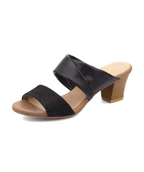 ing PLUS(イングプラス) レディース ミュールサンダル 8557 ブラック/ブラック|レディース サンダル 靴 カジュアル 夏 女性 レディースサンダル サンダルシューズ 夏サンダル アウトレット セール