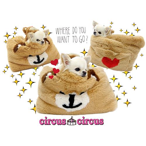 ★★★2019 A/W Collection★★★ 【circus circus】 Freeサイズ【トイプードル/ダックス/チワワ】【犬用品 おでかけ バッグ】【ドッググッズ】サーカスサーカス Toy Bear Fur Carry Bag 【 circuscircus 犬グッズ おしゃれ キャリーバック スリング だっこ