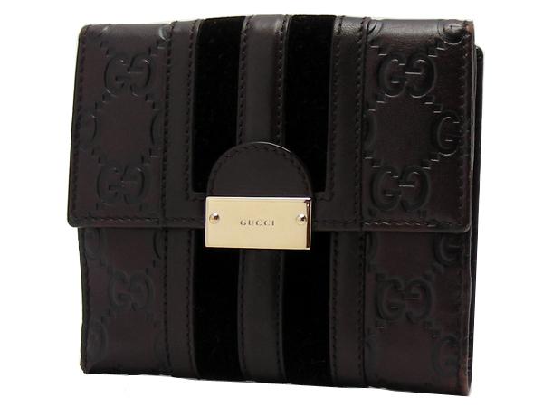 GUCCI グッチWホック 二つ折り財布型押しレザー・ベロア ダークブラウン【中古】【質屋出品】