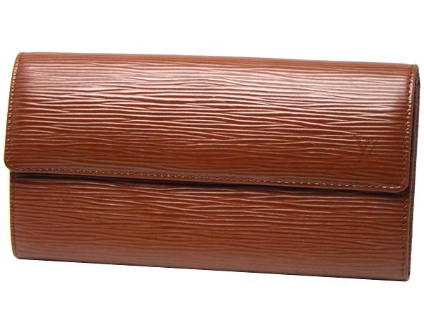 LOUIS VUITTON ルイ・ヴィトンポルト フォイユ・サラ M60321ファスナー付き二つ折り長財布エピライン カカオ・(内側)オレンジ箱・保存袋付き【中古】【送料無料】【質屋出品】